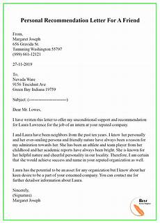 Letter Of Recommendation Format For A Friend Recommendation Letter For A Friend Format Sample Amp Example