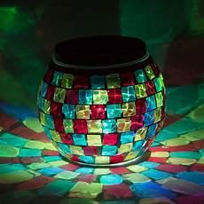Solar Powered Mosaic Lights 4 Inch Solar Powered Mosaic Multi Color Square Glass Tea