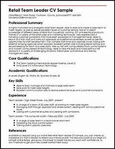 Sample Retail Cv Retail Team Leader Cv Sample Myperfectcv