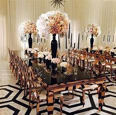 inspiration for a modern black white and copper reception