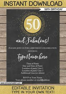 50th Birthday Invites Templates Chalkboard 50th Birthday Invitations Template Editable