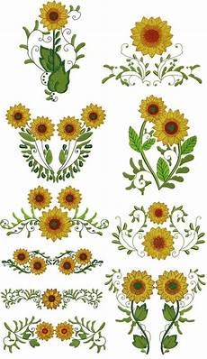 cheerful sunflowers floral machine embroidery design cd