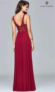 lace applique v neck faviana prom dress promgirl