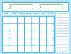 Chore Calendar Blank Chore Calendar Blue On Light Blue Free Printable