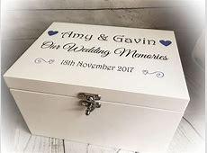 Wooden White Printed Wedding Keepsake Memory Box Chest