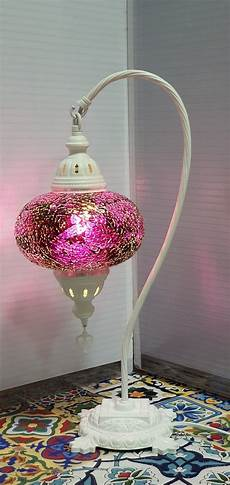 Turkish Lamp Light Bulb Size Purple Turkish Tiffany Mosaic Swan Neck Table Lamp Led