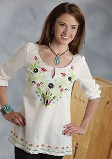 roper 174 s embroidered cotton peasant blouse