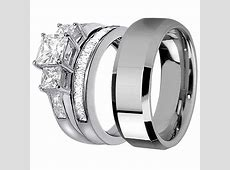 His Stainless Steel Her 925 Sterling Silver Princess Cut