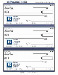 Pretend Cheque Printable Play Checks Consumers Professional Credit Union