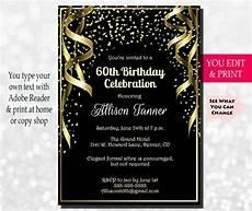 Free Printable 60th Birthday Invitations Templates 60th Birthday Invitation 60th Birthday Party Invitation 60th