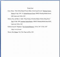 Format Of A Work Cited Page Sample Works Cited Page Ms Pinckney S Website