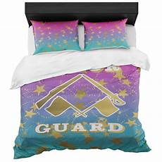 color guard magenta to blue gradient and gold duvet