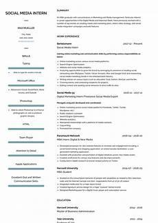 Intern Sample Resume Social Media Intern Resume Samples And Templates Visualcv