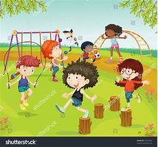 Children Playing Background Illustration Of Childrens Playing In Park On Colorful