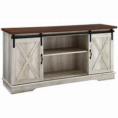 58 inch sliding barn door tv stand media console in white