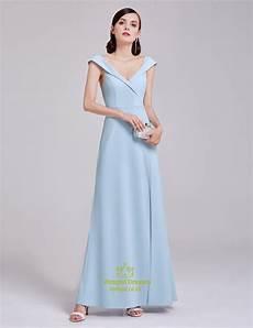 Light Blue Dress Cap Sleeves Elegant Light Blue Cap Sleeve V Neck Long Evening Dress