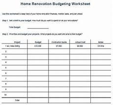 Remodel Worksheet Kitchen Remodel Budget Template Home Renovation