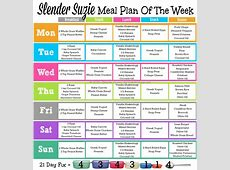 Slender Suzie One Week 21 Day Fix Meal Plan   Slender Suzie