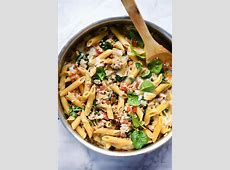 One Pot Penne Pasta with Turkey and Spinach   foodiecrush