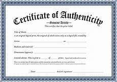 Certificate Of Authenticity Template Certificate Of Authenticity Of An Original Digital Print