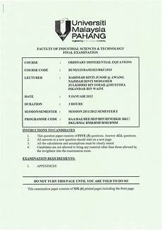Final Paper Cover Page Bum 2133 Ordinary Differrential Equations Final Exam Paper