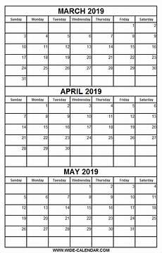2020 Three Month Calendar Printable Calendar March April May 2019 Printable