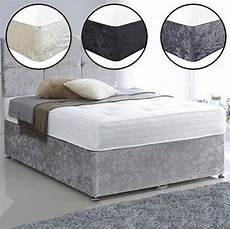 crushed plush velvet complete divan bed set including
