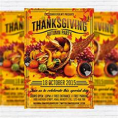Thanksgiving Flyers Thanksgiving Autumn Party Premium Flyer Template