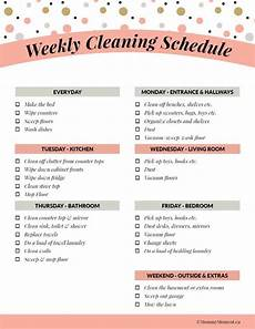 Daily Weekly Monthly Cleaning Weeky Cleaning Schedule Free Printable Moment