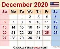 Calendar January December 2020 December 2020 Calendars For Word Excel And Pdf