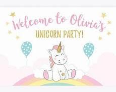 unicorn backdrop personalised printable unicorn banner