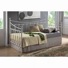 shell detailed ivory metal day bed frame single 3ft