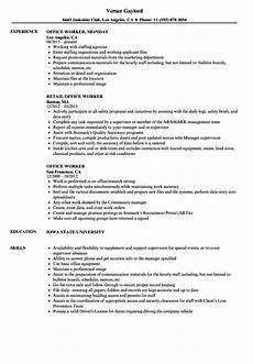 Sample Resume For Office Job Office Worker Resume Samples Velvet Jobs