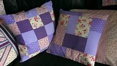 purple patchwork cushions sew sensational