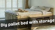 How To Make A Pallet Bed Frame With Lights Diy Pallet Bed With Storage Ideas Youtube