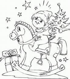 boy on rocking coloring page coloring