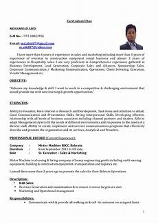 Cv Format For Marketing Executive Cv Sr Executive Sales Amp Marketing