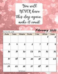 Free Printable Monthly Calendar 2020 Free Printable 2020 Monday Start Monthly Motivational Calendar