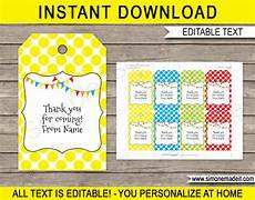 Party Favor Tag Pennant Birthday Party Favor Tags Thank You Tags