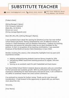 Cover Letter Teacher Template Substitute Teacher Cover Letter Example Amp Writing Tips