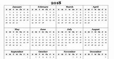 Year Calender Free 2018 Yearly Calendar Pdf Word Excel Templates