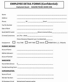 Employment Contact Form Free 10 Sample Employee Details Forms In Ms Word Pdf