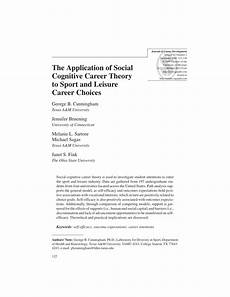 Career Development Articles Pdf The Application Of Social Cognitive Career Theory To