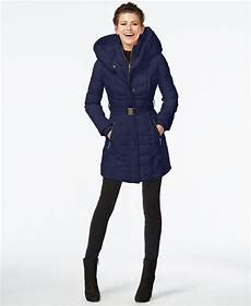 kensie coats for neumaticos kensie knit trim quilted coat in blue navy
