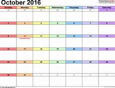 October Calendar October 2016 Calendars For Word Excel Amp Pdf