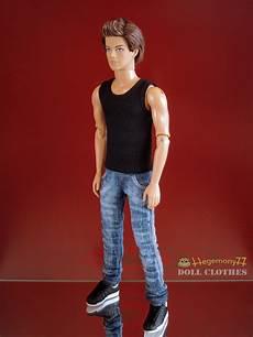 ken doll clothes ken doll in black singlet and washed worn blue denim
