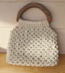 macrame purse purse vintage macrame purse with large wooden handles