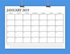 A4 Calendar Template A4 2019 Calendar Template Instant Download 297 X 210 Mm Etsy