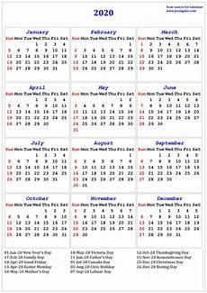 2020 Calendar Canada 2020 Calendar Printable Calendar 2020 Calendar In