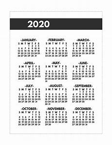 2020 Mini Calendar Printable 2020 Printable One Page Year At A Glance Calendar Paper